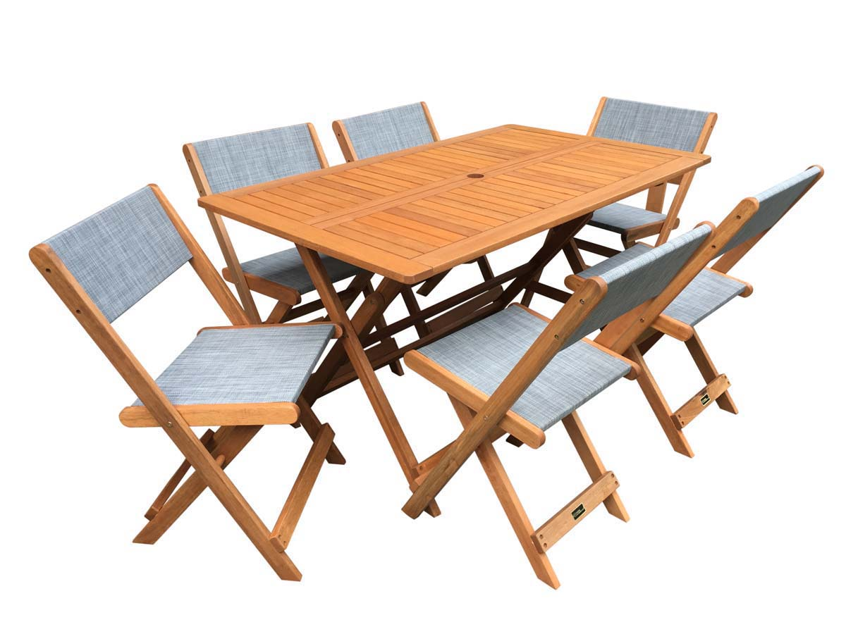 salon de jardin repas s oul 1 table 6 chaises maple gris 90023. Black Bedroom Furniture Sets. Home Design Ideas