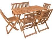Salon de jardin repas  Shanghaï 6  -  4 chaises + 1 banc - Maple - Marron clair