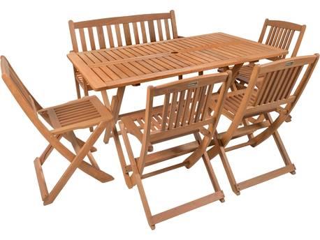 """Salon de jardin repas """"Shanghaï 6"""" -  4 chaises + 1 banc - Maple - Marron clair"""