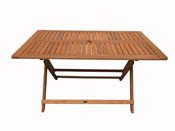 "Table pliante bois exotique ""Hong Kong"" - Maple - 135 x 80 cm - Marron clair"
