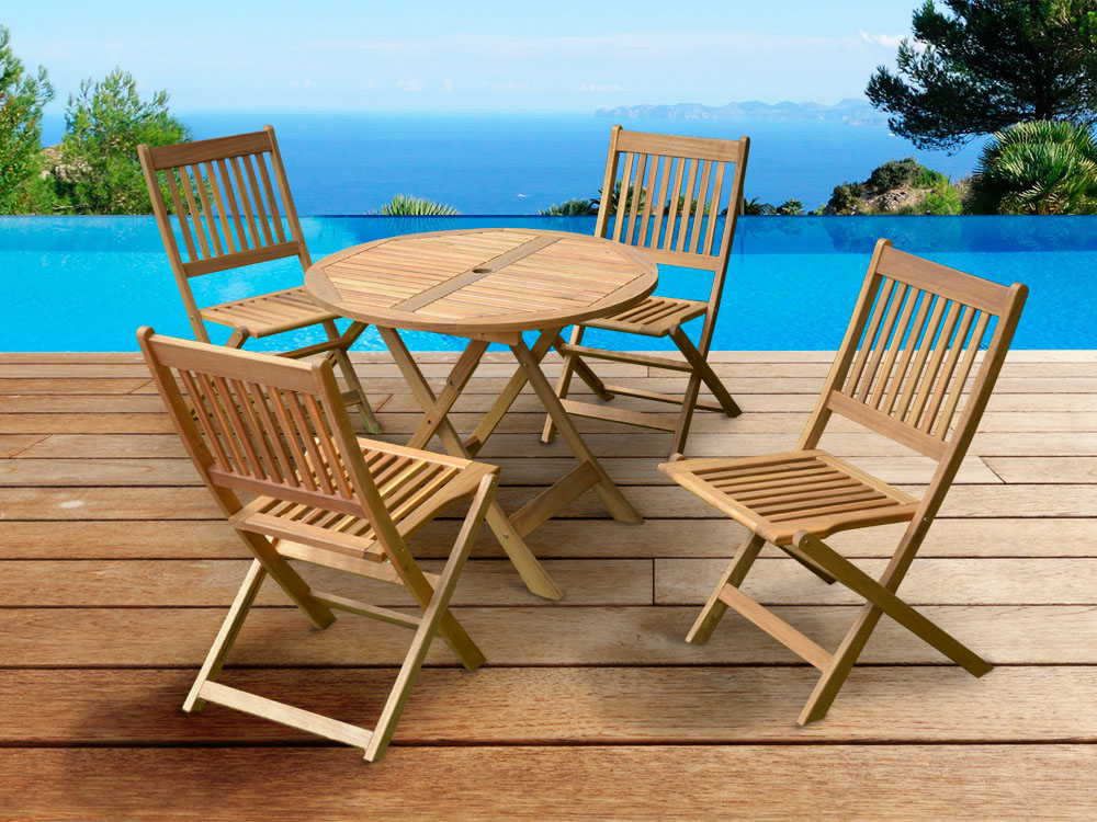 salon de jardin en bois exotique delhi sydney table pliante d90 cm 4 chaises pliantes 66416. Black Bedroom Furniture Sets. Home Design Ideas