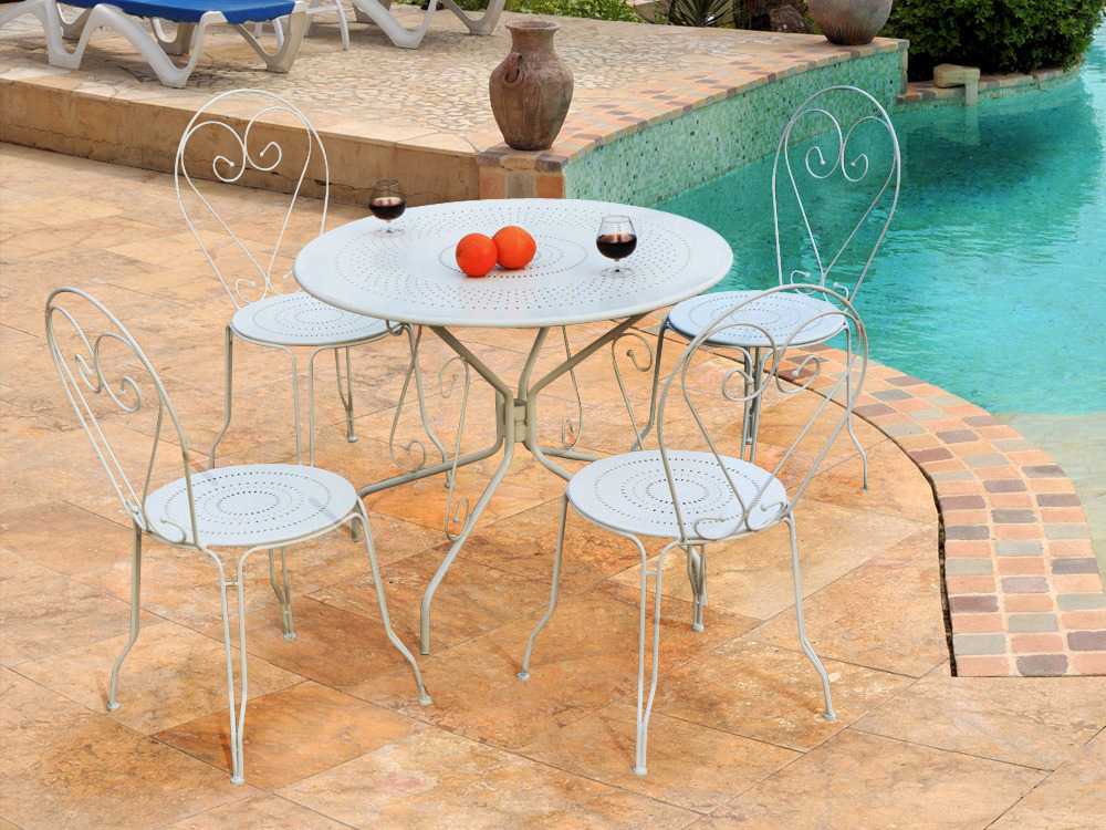 salon de jardin retro m tal coloris blanc 1 table 4 chaises 54410. Black Bedroom Furniture Sets. Home Design Ideas