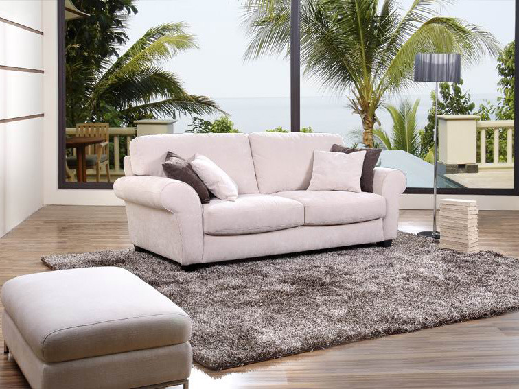 canap fixe tissu willy 3 places beige 57711. Black Bedroom Furniture Sets. Home Design Ideas