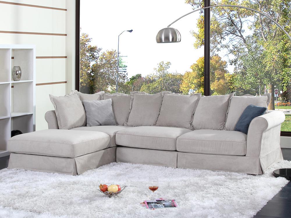 canap d 39 angle tissu virginia 4 places ecru 54205. Black Bedroom Furniture Sets. Home Design Ideas