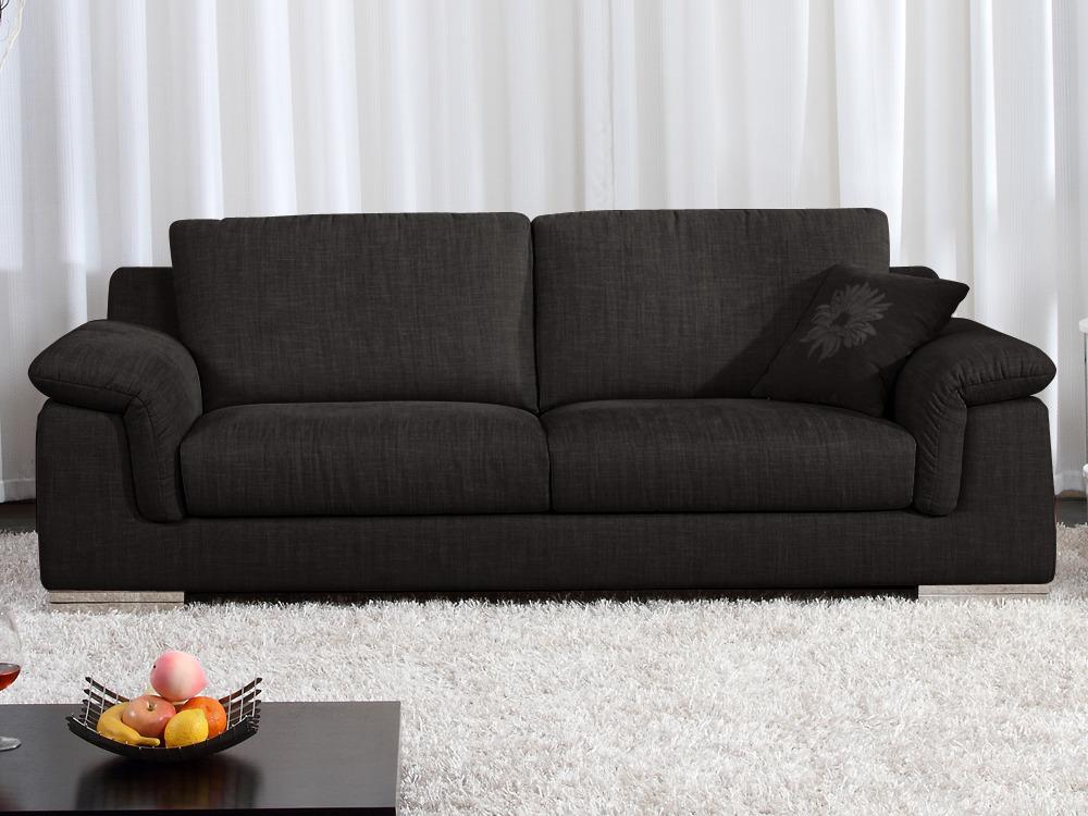 canap fixe tissu c cilia 3 places marron fonc 53976 53979. Black Bedroom Furniture Sets. Home Design Ideas