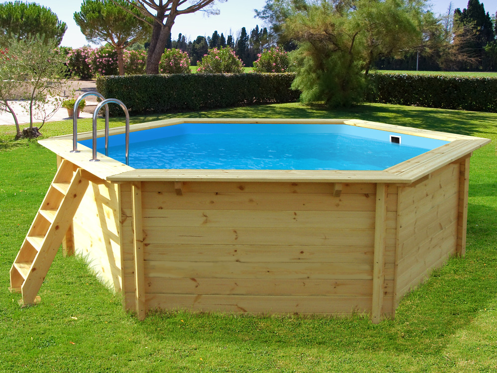Piscine bois hawai x m 54963 for Piscine hexagonale hors sol