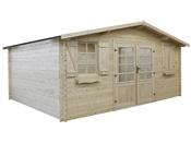Abri jardin bois traité autoclave - 22.80 m² - 5.26 x 4.32 x 2.46 m - 28 mm