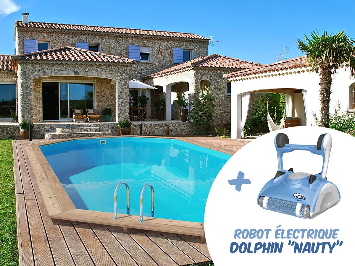Piscine bois palma x x m robot for Robot piscine bois