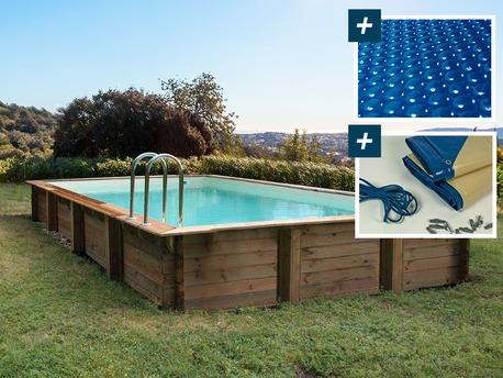 """Piscine bois en kit rectangle """" Murano """" - 12.20 x 6.20 x 1.44 m - Bâche à bulles  400 µ - Bâche hiver  280 g/m²"""