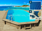 """Piscine bois """" Ibiza """" - 8.57 x 4.57 x 1.31 m - Bâche à bulles  180 µ - Bâche hiver  280 g/m²"""
