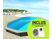 """Piscine bois """" Brazilia """"  5.86 x 3.86 x 1.20 m + Pompe à chaleur réversible """"Simplicity by Hayward"""" ON/OFF - 5 kW - Blanc"""