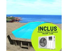 """Piscine bois """" Cancun """" - 6.53 x 4.41 x 1.45 m + Pompe à chaleur réversible """"Simplicity by Hayward"""" ON/OFF - 5 kW - Blanc"""