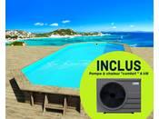 """Piscine bois """" Ibiza """" - 8.57 x 4.57 x 1.31 m + Pompe à chaleur """"Comfort"""" ON/OFF - 6 kW - Gris foncé"""