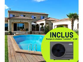 """Piscine bois """" Palma """" - 7.57 x 4.07 x 1.31 m + Pompe à chaleur """"Comfort"""" ON/OFF - 6 kW - Gris foncé"""