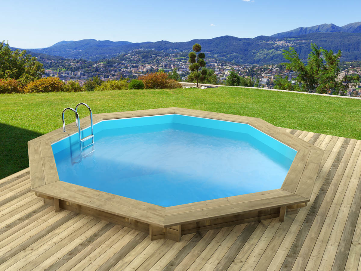 Piscine bois verona x m 68437 for Piscine hexagonale en bois
