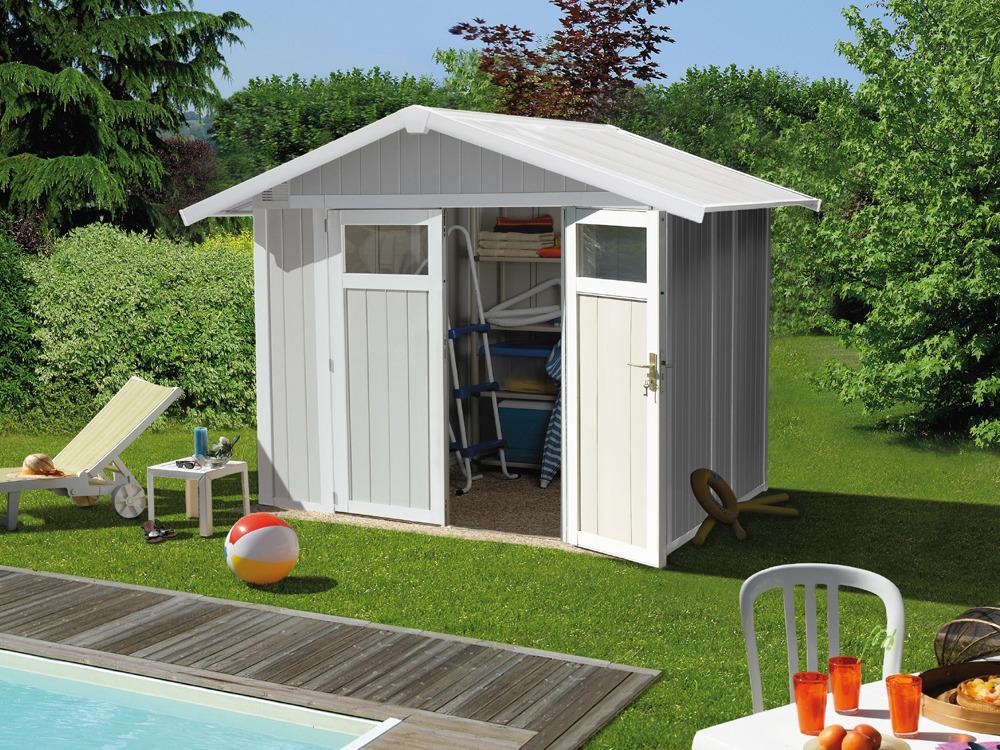 Grosfillex cabri de jardin en pvc 4 9m utility blanc et for Jardin gris et vert