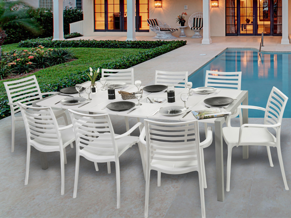 salon de jardin sunday 1 table blanc glacier 8 fauteuils blancs 81011. Black Bedroom Furniture Sets. Home Design Ideas