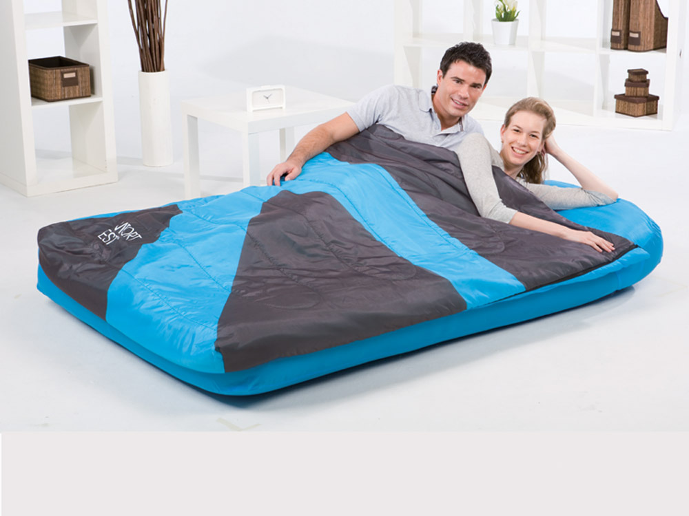 matelas gonflable aslepa 2en1 duvet 2 places bleu 58241. Black Bedroom Furniture Sets. Home Design Ideas