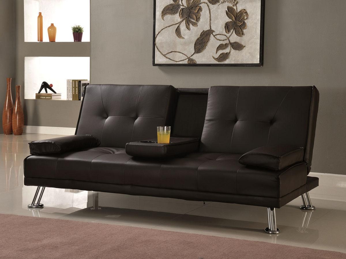 canape clic clac leo 3 places noir 83749. Black Bedroom Furniture Sets. Home Design Ideas