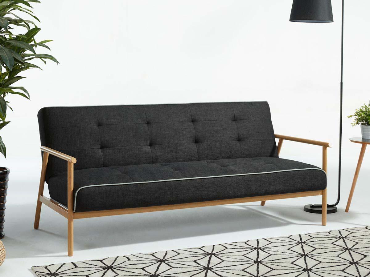 canap clic clac marco 3 places gris 86453. Black Bedroom Furniture Sets. Home Design Ideas