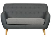CANAPE FIXE TISSU CODY - 2 PLACES - GRIS FONCE + C