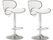 LOT DE 2 TABOURETS DE BAR SUNRISE - BLANC
