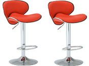 LOT DE 2 TABOURETS DE BAR SUNRISE - ROUGE