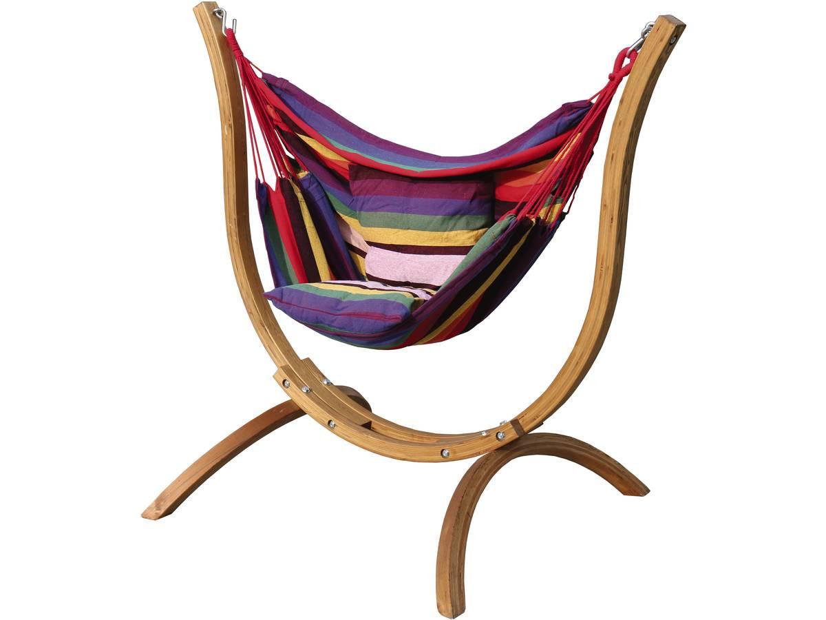 Hamac chaise avec support bois santiago multicolore 93303 100078 - Nacelle suspendue jardin ...