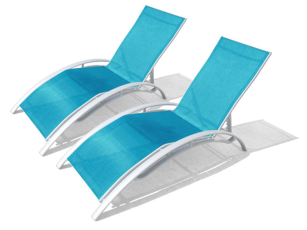 lot de 2 bains de soleil 100 aluminium et textil ne bleu. Black Bedroom Furniture Sets. Home Design Ideas