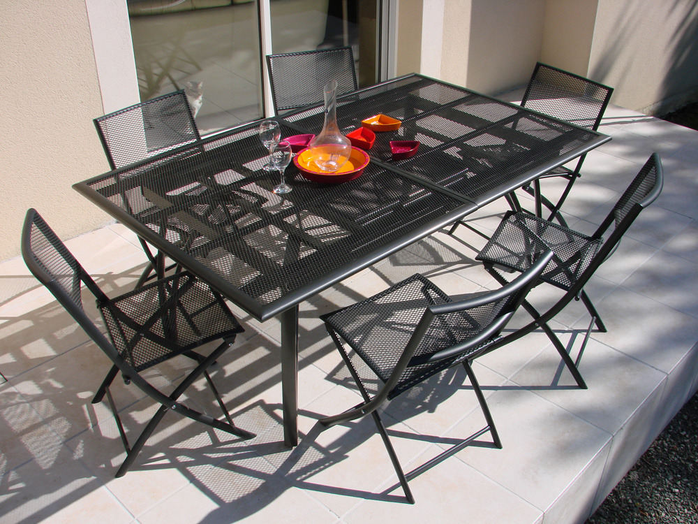 Table de jardin aluminium perfor e 180 240 110 x 73 cm 61753 - Table de jardin rallonge papillon ...