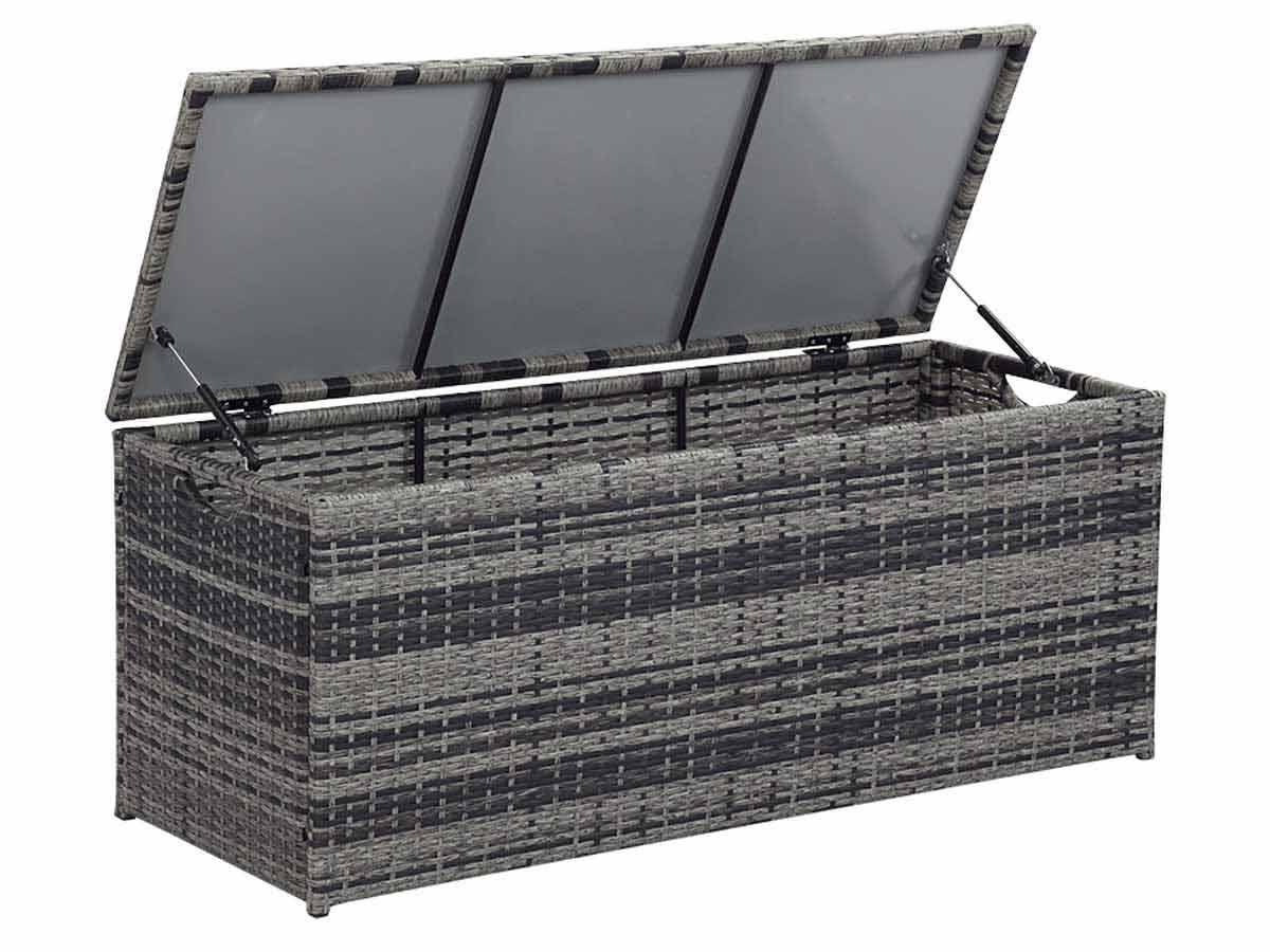 coffre jardin victor 340l florida 130 x 50 x 52 cm gris 59503 86765. Black Bedroom Furniture Sets. Home Design Ideas