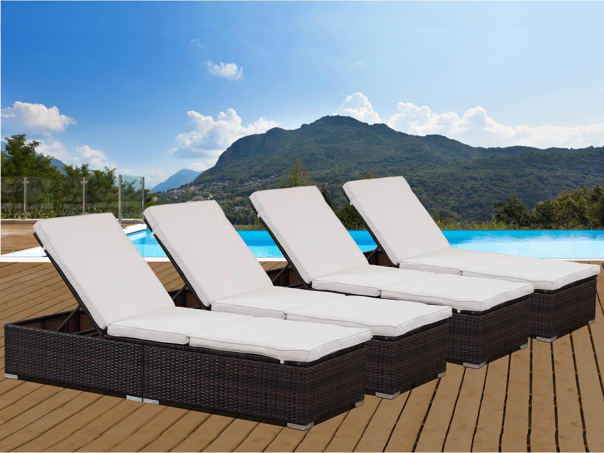 bain de soleil coffre en r sine tress e bali buffalo marron lot de 4 69475. Black Bedroom Furniture Sets. Home Design Ideas