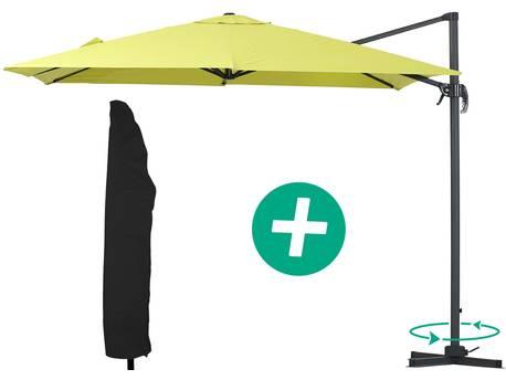 """Parasol jardin déporté Alu """"Sun 3"""" - Carré - 3 x 3 m - Vert + housse de protection"""