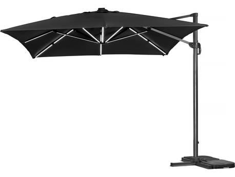 """Parasol jardin déporté LED Alu """"Sun 3 Luxe"""" - Carré - 3 x 3 m - Noir"""