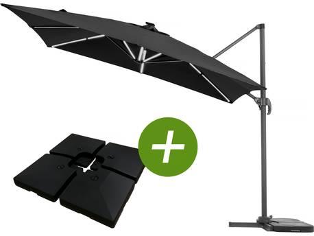 """Parasol jardin déporté LED Alu """"Sun 4 Luxe"""" - Rectangle - 3 x 4 m - Noir + Dalles à lester incluses"""