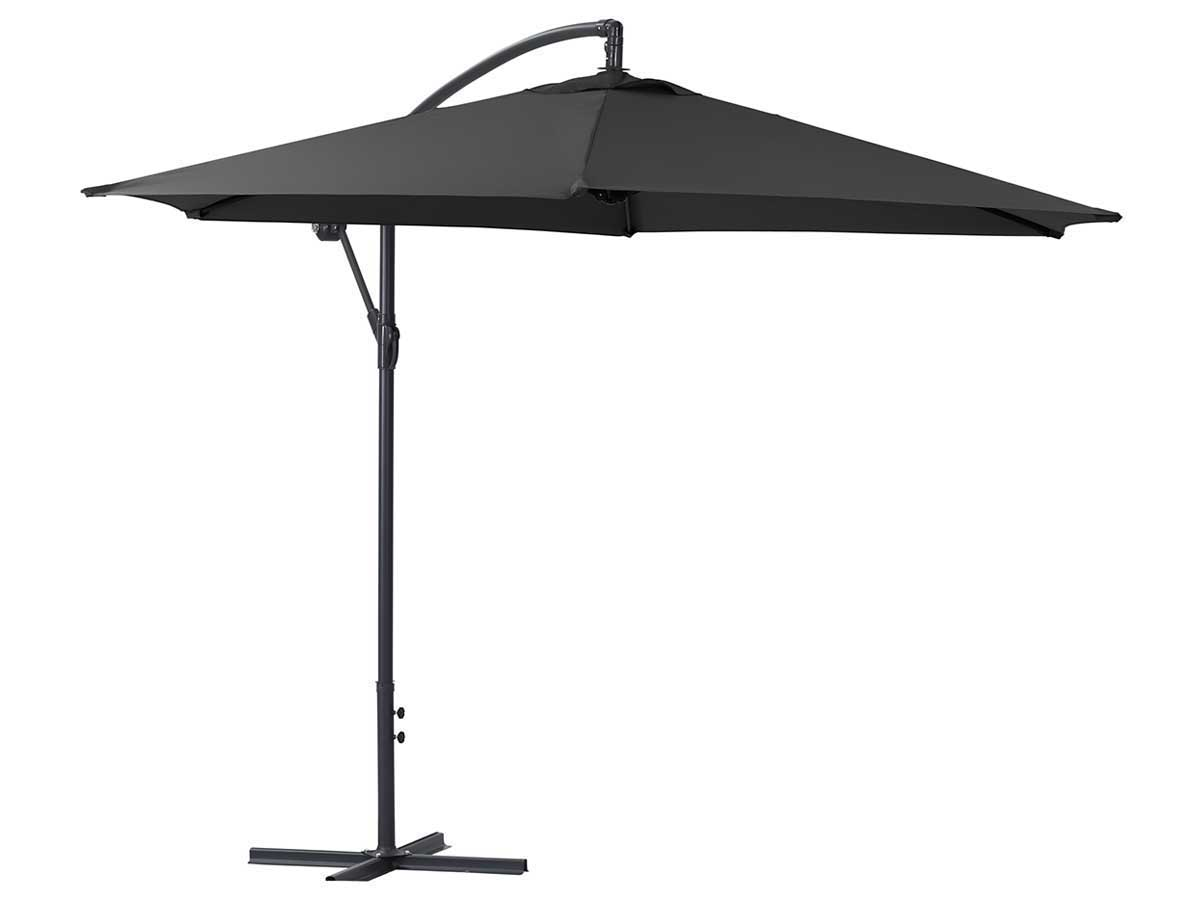 parasol jardin d port alu ilios rond 3 m noir 68238 68242. Black Bedroom Furniture Sets. Home Design Ideas