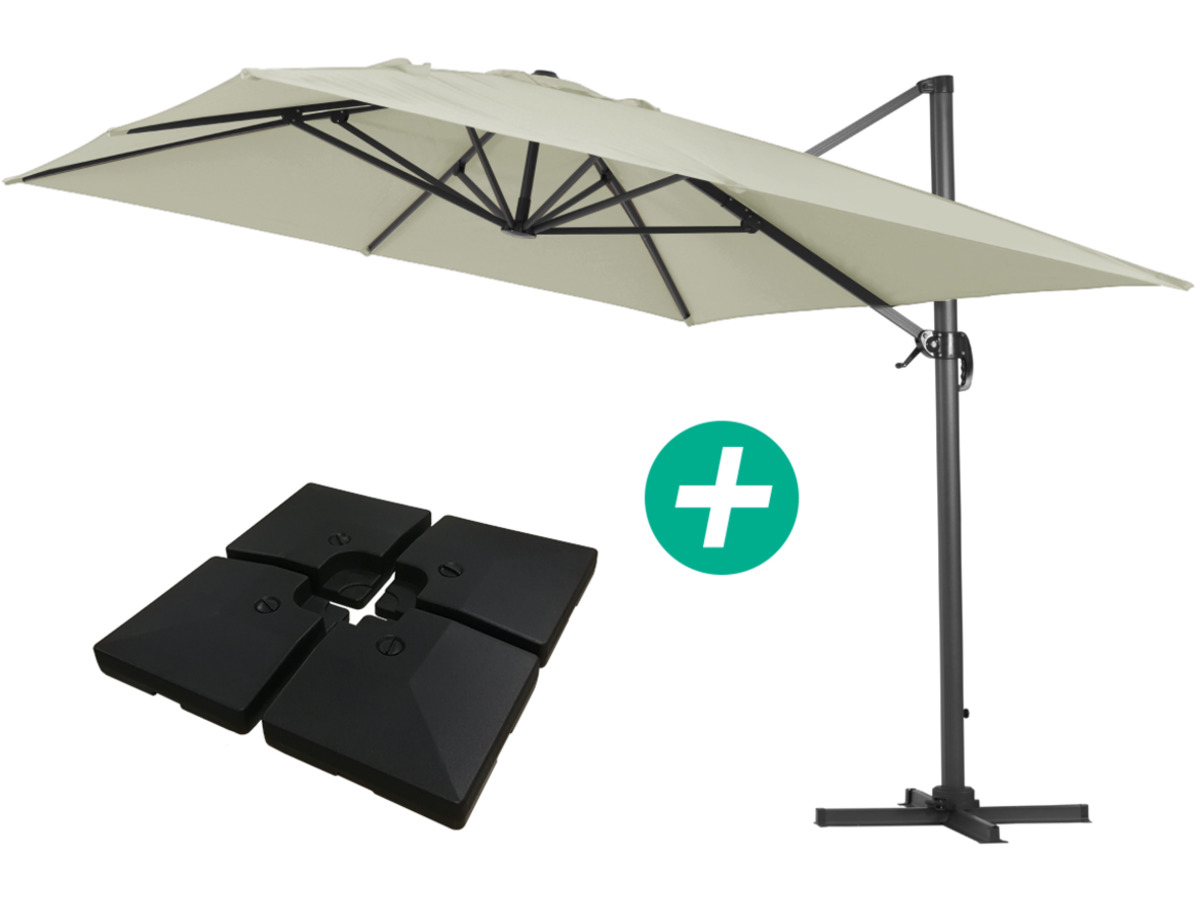 Parasol Jardin Déporté Alu Sun 4 Rectangle 3 X 4 M