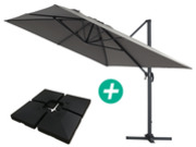 "Parasol jardin déporté Alu ""Sun 4"" - Rectangle- 3 x 4 m - Gris - Dalles incluses"