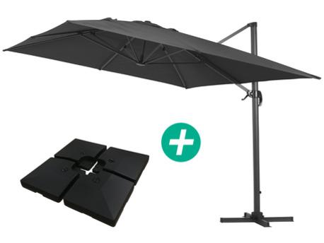 """Parasol jardin déporté Alu """"Sun 4"""" - Rectangle- 3 x 4 m - Noir - Dalles incluses"""