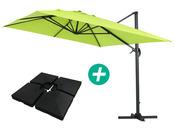 """Parasol jardin déporté Alu """"Sun 4"""" - Rectangle - 3 x 4 m - Vert - Dalles incluses"""