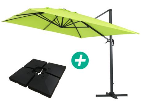"""Parasol jardin déporté Alu """"Sun 4"""" - Rectangle- 3 x 4 m - Vert - Dalles incluses"""