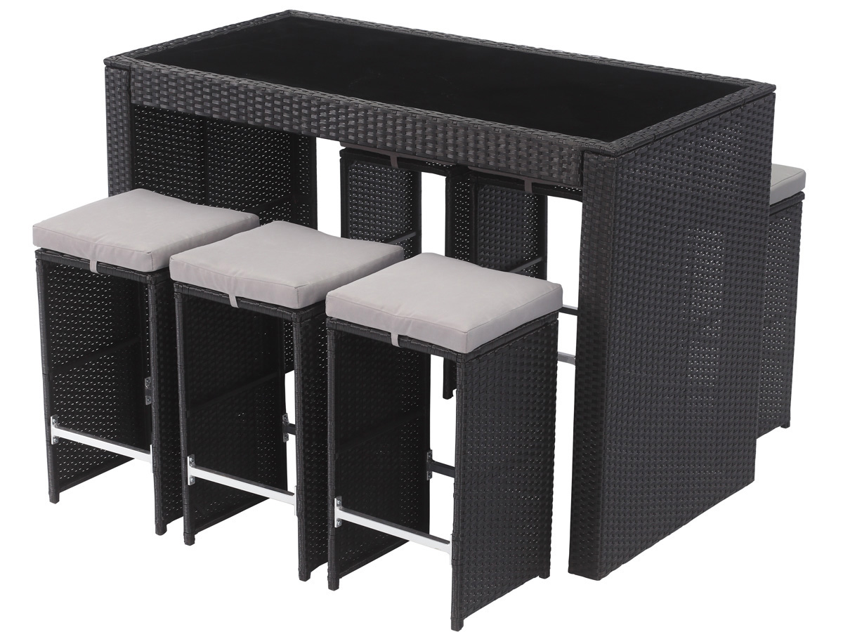 bar de jardin en r sine tress e milan atlanta noir 59819. Black Bedroom Furniture Sets. Home Design Ideas
