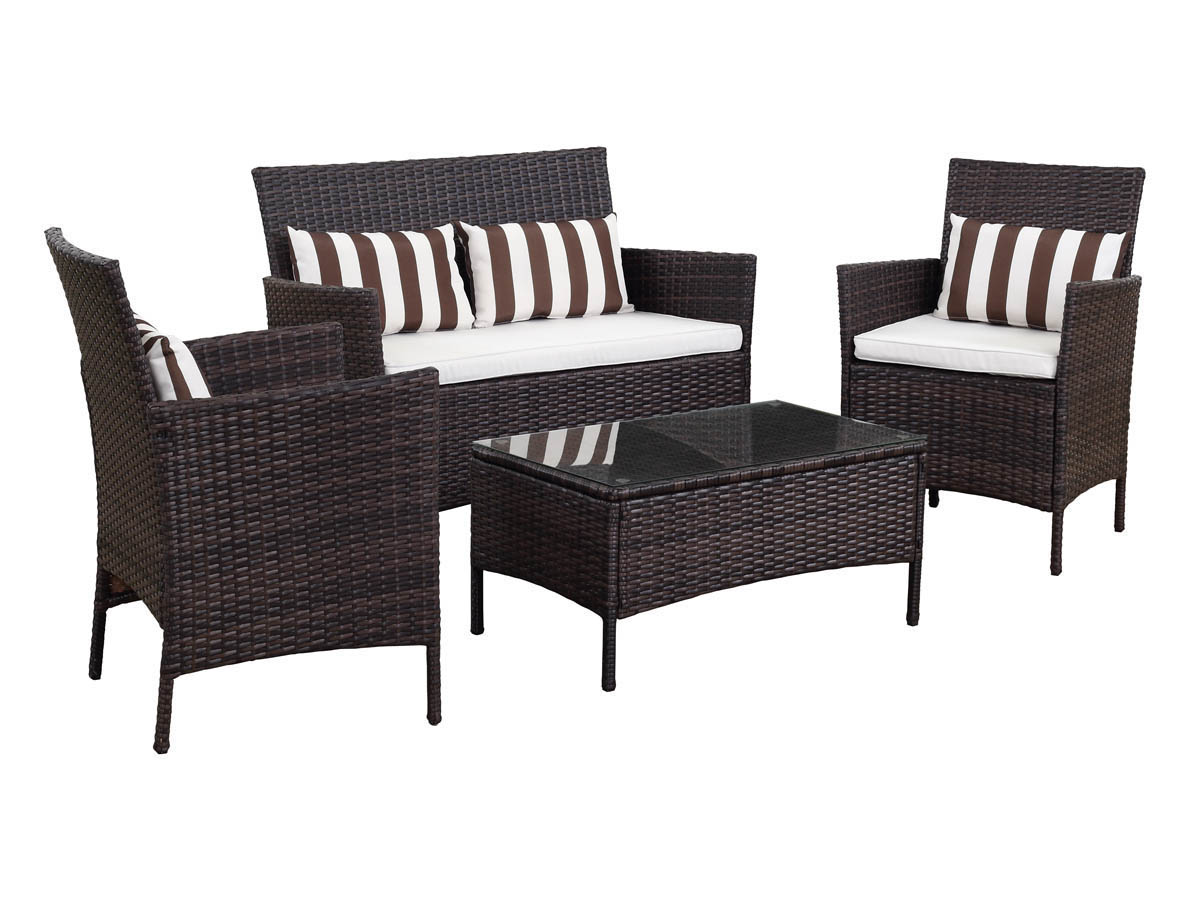 salon de jardin r sine tress e toronto buffalo marron 59584 65465. Black Bedroom Furniture Sets. Home Design Ideas