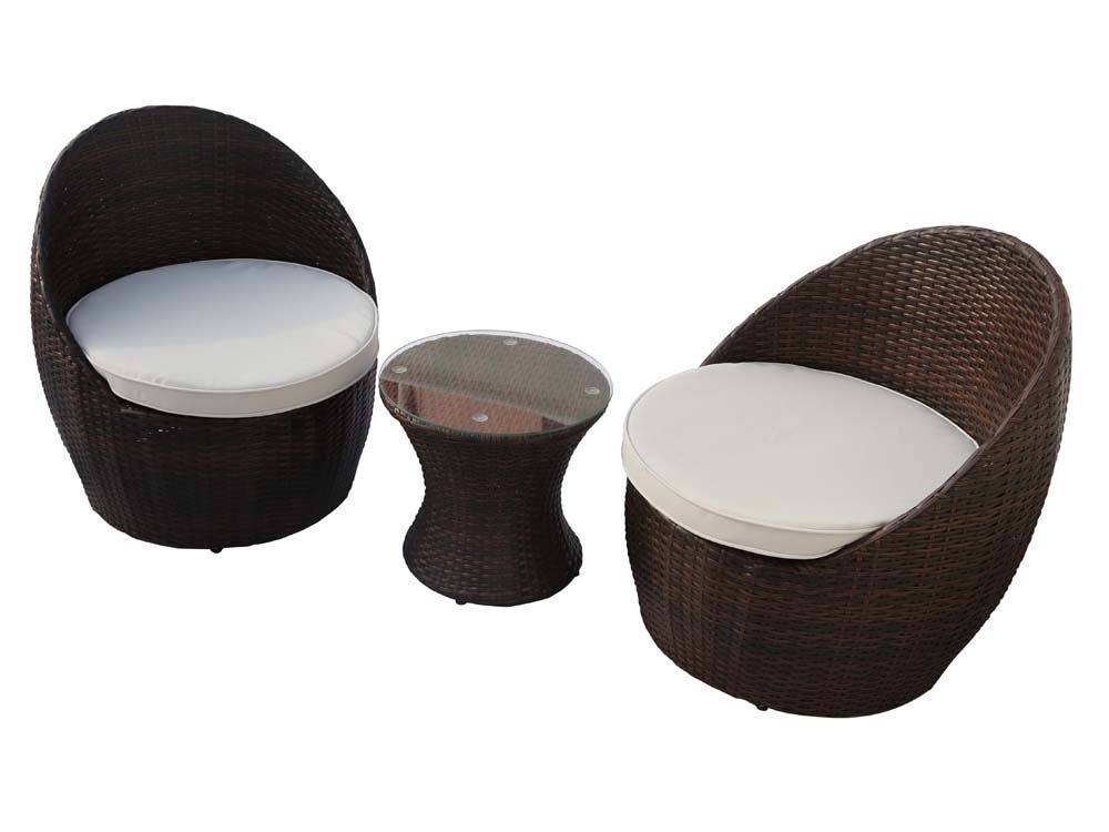 Salon de jardin résine tressée Porto - 1 table basse + 2 fauteuils 59815