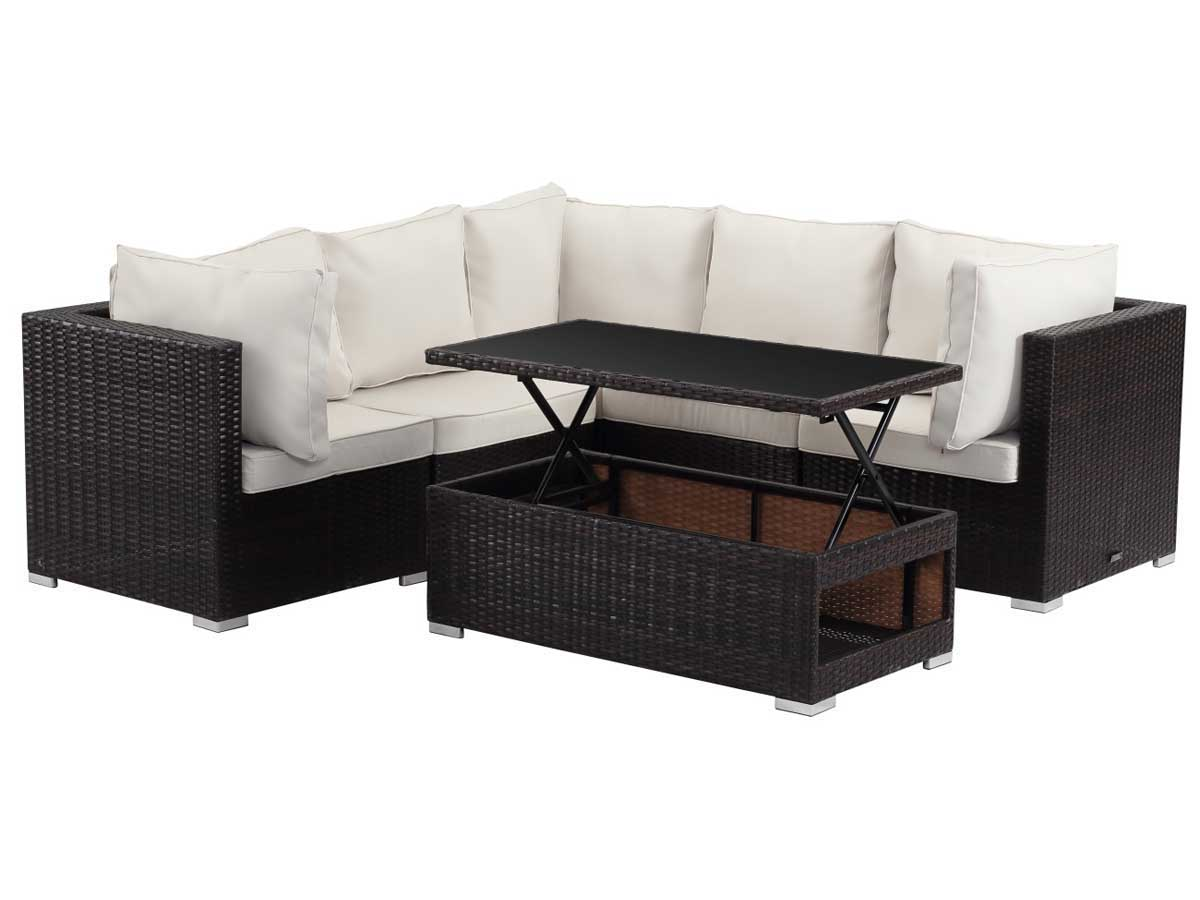 Salon de jardin modulable en r sine tress e auckland first buffalo marron 89204 89205 - Salon d ete en resine ...
