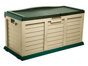 "Coffre de jardin en PVC ""Jersey""- 390 L - 140 x 61 x 74 cm - Beige et vert"