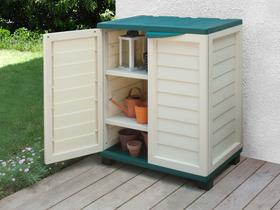 armoire en pvc deux portes singapour x x h m vert et beige 60667. Black Bedroom Furniture Sets. Home Design Ideas