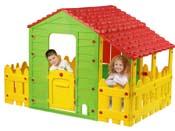"""Cabane enfant ferme en PVC """"Fun"""" avec jardinet et veranda - 193 x 118 x 127 cm"""