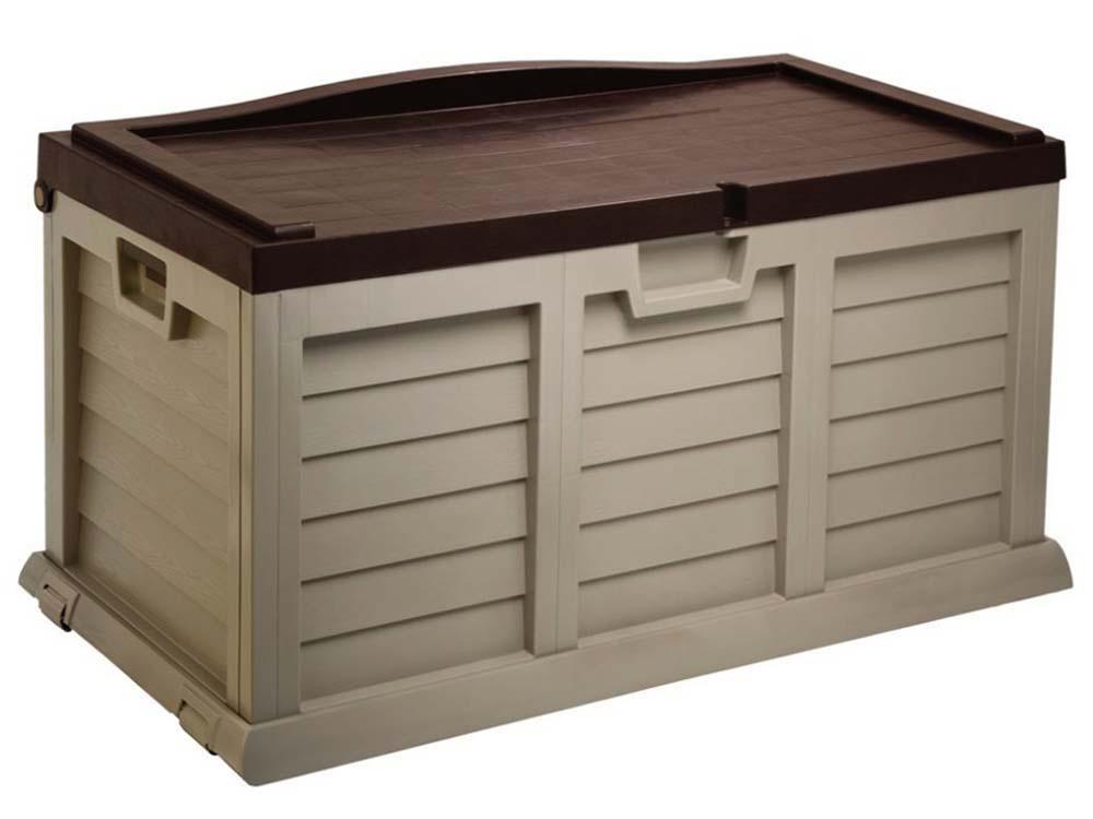 coffre de jardin en pvc madrid 270 l 119 x 61 5 x 61 5 cm moka 60020. Black Bedroom Furniture Sets. Home Design Ideas