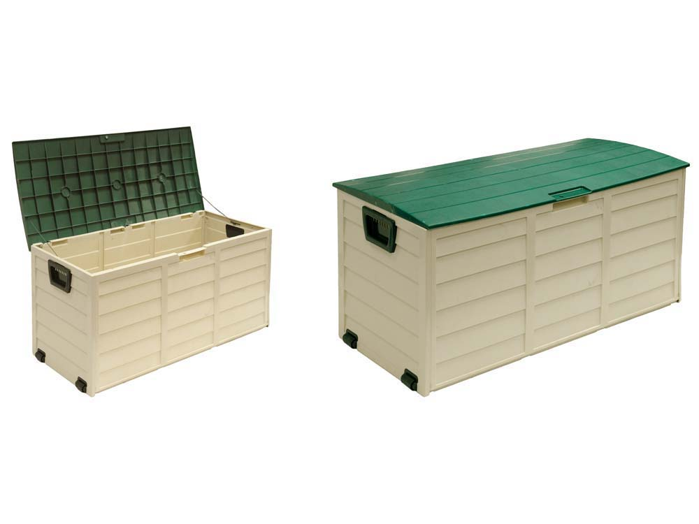 coffre de jardin en pvc trinidad 227 l 114 x 51 x 56 cm beige et vert 66673. Black Bedroom Furniture Sets. Home Design Ideas